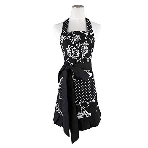AimdonR Plus Größe Retro Vintage Frauen Nette Schwarze Schürze Zwei Taschen 100% Bio-Baumwolle Extra lange Krawatte Küche Schürze zum Backen Kochen Gartenarbeit 29 x 21 Zoll für Frau und Mädchen, -