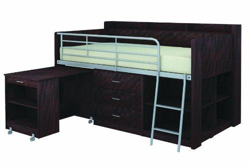 Holz-loft-betten (Rack Möbel Clairmont Loft Bett, holz, espresso, twin bed)