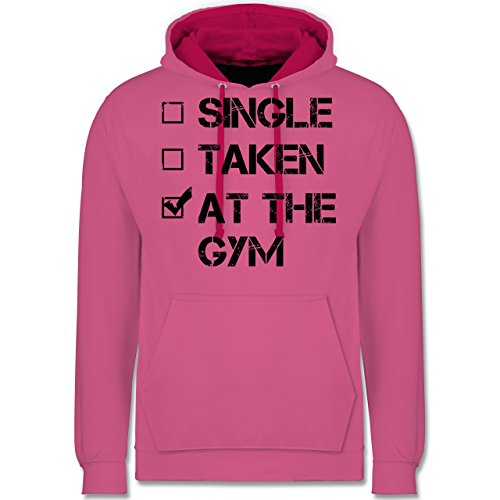 CrossFit & Workout - Single? Taken? At the gym! - Kontrast Hoodie Rosa/Fuchsia