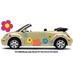 Pegatina de automóvil Hippie Flores Amores y Paz Plower Power Hippie 031 (8)