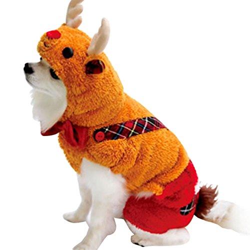 Yuncai Lustige Halloween Party Hund Kleidung Weihnachten Elch Verkleidung Kostüm für Haustier Katze Cosplay Orange (Halloween Elch Kostüme)