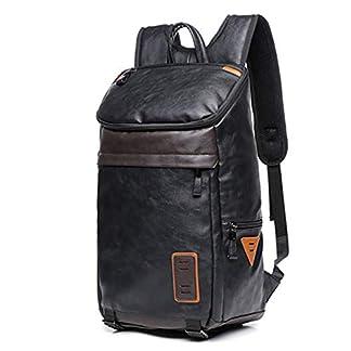 410TKCUOKML. SS324  - Willsego Promoción Hombres de Cuero Mochila para portátil Moda Mochila de Viaje de Gran Capacidad Mochila Masculina Kanken Negro