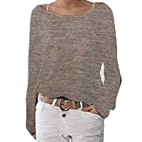 GRMO Women's Long Sleeve Pure Color Loose Fit Crewneck Knit T-Shirt Blouse Tops Brown US S