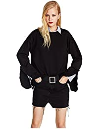 TOOGOO(R) Women's New Fashion O-neck Long Sleeve Sweatshirt Casual Loose Ruffle Female Pullover Chic Pullover Sweatshirt(Black, M/US-4~6/UK-8~10)