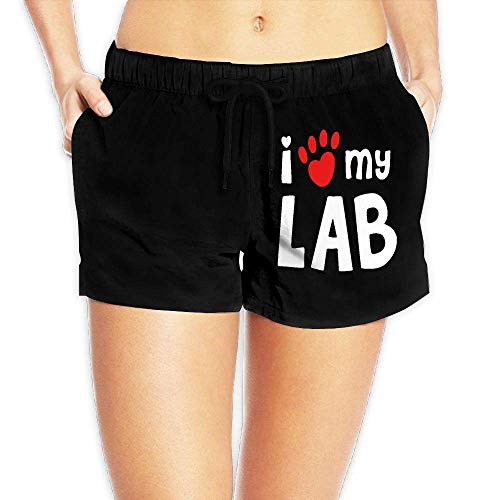 Labrador-boxer-shorts (Hwgss I Love My Lab Labrador-1 Womens Lightweight Beach Board Shorts Dry Fit Swimming Shorts with Pockets(S))