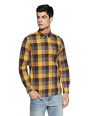 Pepe Jeans Men's Checkered Slim Fit Casual Shirt (PIMW200114_Gold_Small)