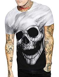 FIRSS Männer Kurzarmshirt,Schädel 3D Gedruckt Pullover Lustiges Muster  Sweatshirt Unisex Slim fit Streetwear T-Shirt Gym… 5976407ed1