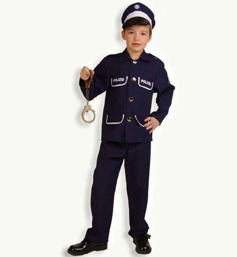 sen blau 2tlg mit Mütze Polizei Kinder Kostüm Gr. 116 (Polizei Kostüm Kind)