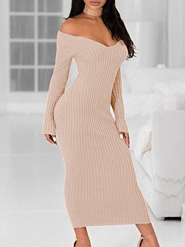 Boutiquefeel Damen Schulterfreies Ribbed Langarm Bodycon Maxi Kleid Nude