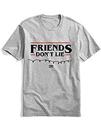 Casuale Stranger Things Maglietta per Donna Uomo, Friends Dont Lie T-Shirt Maniche Corte Estate Tee Elegante Camicia Tops Camicetta Blusa