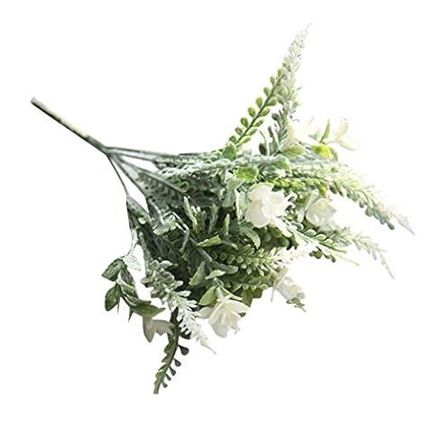 Winwintom Petite Herbe fraîche de fleurs artificielles Bouquet, Plastique, blanc, 35cm