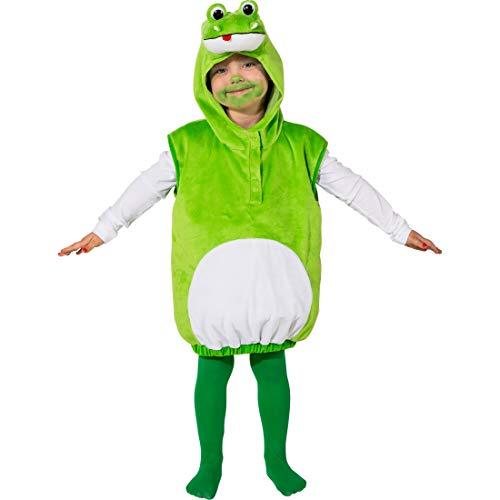 NET TOYS Hinreißendes Kostüm-Set für Jungen & Mädchen Frosch | Grün-Weiß in Größe 104, 3 - 4 Jahre | Hübsche Kinder-Verkleidung Kröte | EIN Blickfang für Kinder-Fasching & - Mädchen Frosch Kostüm