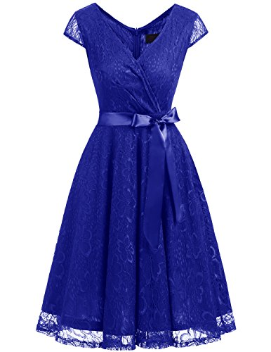 Dresstells Elegant Spitzenkleid Knielang V-Ausschnitt Brautjungfernkleid Cocktailkleid Abendkleider Royalblue 2XL