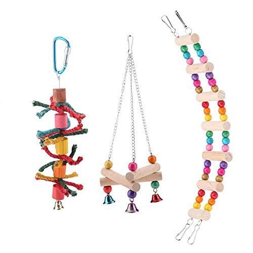 Zerodis 4 piezas Juguetes para loros, juguetes colgantes para pájaros, colorido columpio de madera para colgar, juguetes para masticar pájaros, accesorios decorativos para loros