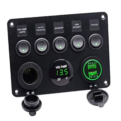 g Auto Boat Interior Control Switch Panel Spannungsanzeige USB-Ladegerät Green ()