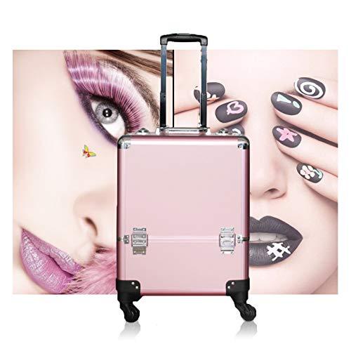 Mhxzkhl Mallette à Maquillage Verrouillée Vanity Case Valise à Cosmétiques Trolley à Bijoux Outil Poignée Télescopique,avec 4 roulettes - 36 x 23 x 44cm,Pink