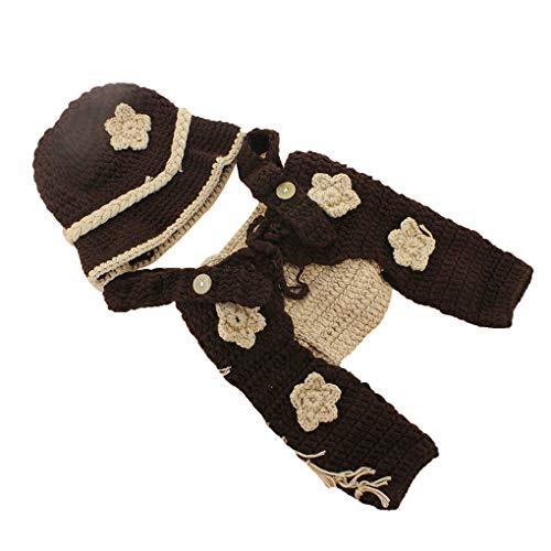Mengonee Baby-Klage Fotografie Outfit gestricktes Garn Cartoon Cowboy Splicing Farbe Infant Weiche, die Foto Prop