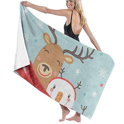 Serviette de bain, Merry Christmas Deer Snowman Snowflake Star Personalized Custom Women Men Quick Dry Lightweight Beach & Bath Blanket Great for Beach Trips, Pool, Swimming and Camping 31