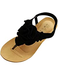Sandalias mujer, ❤️ Manadlian MujerSandalias Bohemia Flor Verano Sandalias con punta de clip Zapatos de playa (CN:40, Negro)