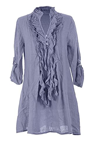 TEXTURE ONLINE Ladies Women Italian Lagenlook Quirky Plain Long Sleeve 3 Button Ruffle Frill Tassel V Neck Linen Tunic Top Blouse One Size UK 8-14 (One Size, Cornflower Blue)