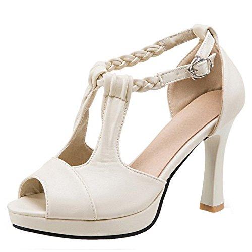 TAOFFEN Femmes Peep Toe Sandales Mode T-strap Bloc Talons Hauts Chaussures De Boucle Beige