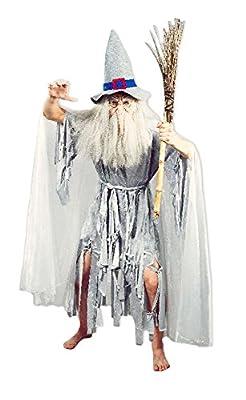 Hexenmeister Catweazle Crazy Ghost Kostüm für Herren - Gandalf Hexer Verkleidung für Halloween oder Mittelalter Mottopartys