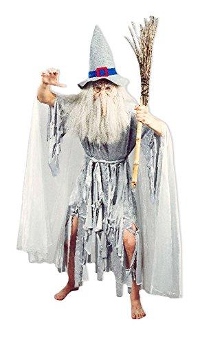 Kostüm Kröte Herr - Hexenmeister Catweazle Crazy Ghost Kostüm für Herren - Gandalf Hexer Verkleidung für Halloween oder Mittelalter Mottopartys
