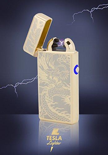 Tesla-Lighter T08 | Lichtbogen Feuerzeug, Plasma Double-Arc, elektronisch wiederaufladbar, aufladbar mit Strom per USB, ohne Gas und Benzin, mit Ladekabel, in edler Geschenkverpackung, Gold Drache