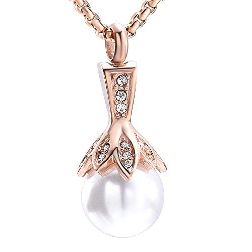 rle Feuerbestattung Urne Halskette Edelstahl Andenken Asche Medaillon Anhänger mit Kristallblume ()