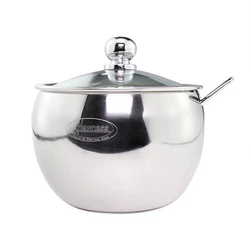 Newness, zuccheriera in acciaio inox con coperchio trasparente (per un miglior riconoscimento del contenuto) e cucchiaio da zucchero per casa e cucina, a forma di tamburo small size, 240 ml(8.42 oz or 1 cup)
