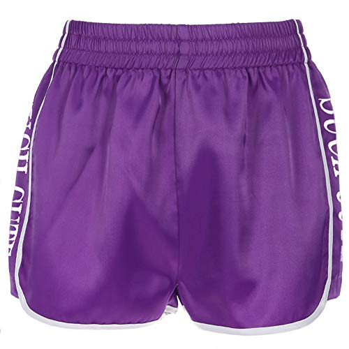 Frauen Satin Lässige Hight Taille Shorts Loose Fit Twill Side Letter Druck Cargo Shorts,Purple,M -