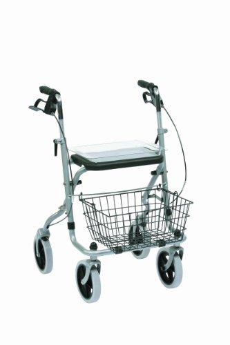Drive Medical WA015 Migo Rollator aus Stahl, 4 Räder, mit Ablage, silberfarben -