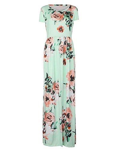 MODETREND Damen Elegante Kleider mit Blüte Drucken Kurzarm Lange Sommerkleid Abendkleid Partykleid Cocktailkleid Grün