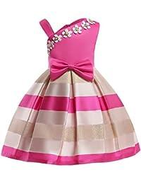 LZH Vestido de Niñas Boda Fiesta de Princesa Encaje de Flor Cóctel Vestido