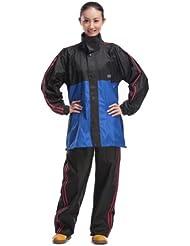 aiqi traje impermeable de los hombres de las mujeres y los hombres manga larga Gabardina Set-4colores, hombre mujer, color azul, tamaño 4XL