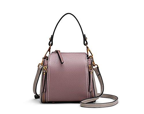 Xinmaoyuan Handtaschen der Frauen schlagen Farbe weibliche Paket Echtes Leder Messenger Umhängetasche Lychee Muster Retro Bucket Bag Reißverschlusstasche, Hellblau Lila mit grau