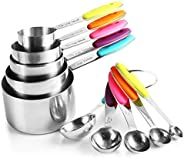 10 Piece Measuring Cups and Spoons Set in Stainless Steel Cooking & Ba