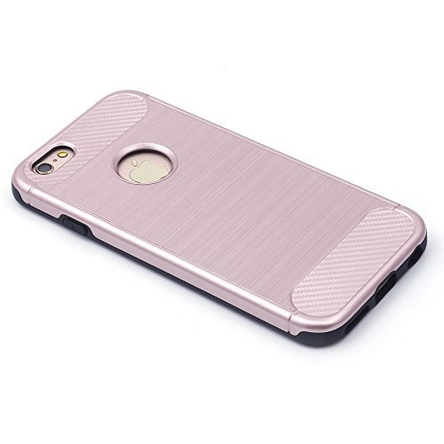 iProtect TPU Schutzhülle Apple iPhone 6, 6s Carbon Case brushed rot Rosegold