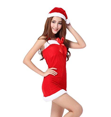 Weihnachten Kleider Outsuits Passt mit Hut Damen,ZEZKT Weihnachtsmann Kostüm Cosplay Geschenk Christmas (Free Size, (Sexy Glocke Kostüme)