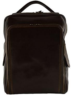 Echtes Leder Rucksack Für Mann Mit Fronttasche Farbe Dunkelbraun - Italienische Lederwaren - Rucksack