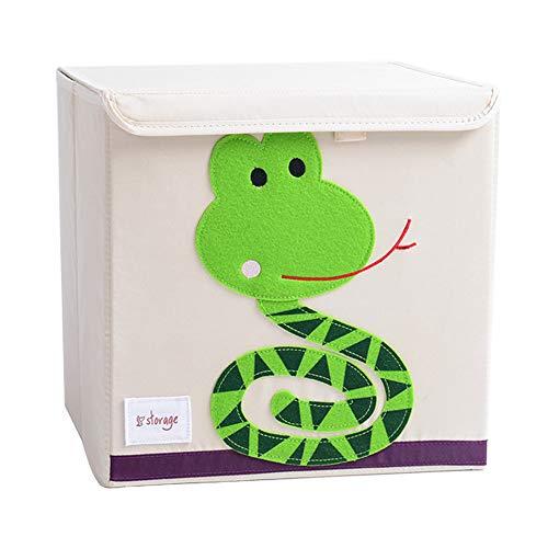 Aufbewahrungsbox Leinwand Faltbare Cartoon Aufbewahrungswürfel Spielzeugkiste Organisator für Kinderspielzeug (Schlange) - Schlange Leinwand