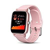 Fitness Tracker HR, Activity Tracker YUNSYE with 1.3inch LCD Color,Screen Long Battery Life Smart Watch,with Body temperature detection, Sleep Monitor Step Counter Calorie Smart Bracelet (Pink)