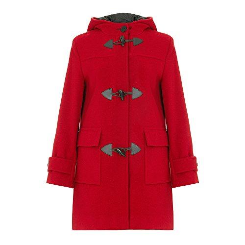 De La Creme - di donne rosse lana & Cashmere invernale con cappuccio Montgomery taglia 18 46