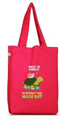 Turtle Jutebeutel Stoffbeutel Earth Positive mit Turbo Schildkröte Motiv Hot Pink