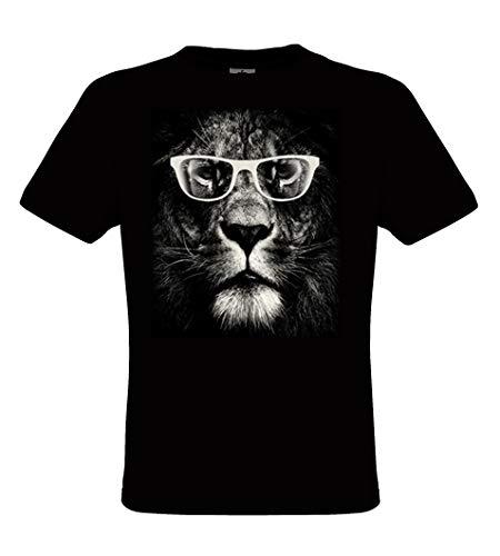 DarkArt-Designs Lion Glasses - Lšwen T-Shirt fŸr Kinder und Erwachsene - Tiermotiv Shirt Fun Lifestyle Wildlife regular fit, Grš§e XL, schwarz -