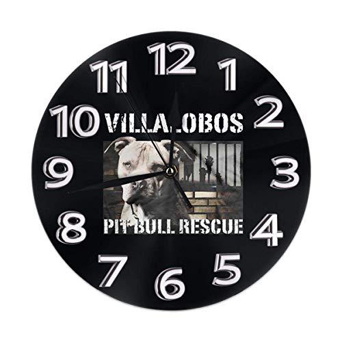 Kncsru Stille, Nicht tickende runde Wanduhren, Pit Bull-Rettungsuhren im Villalobos-Rettungszentrum, batteriebetriebenes Quarz-Analog, leise Tischuhr