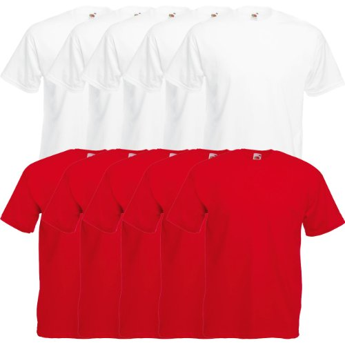 Fruit of the Loom Original Valueweight T Rundhals T-Shirt F140 5er 10er 15er 20er Pack 5x white 5x red