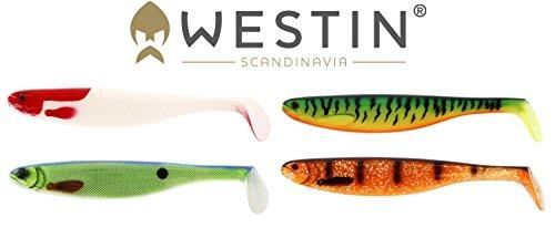 Westin Set - 4 ShadTeez Gummifische 27cm, Gummiköder zum Angeln auf Hecht, Shads zum Hechtfischen, Gummiköder für Raubfisch, Köder zum Schleppfischen, Gummifisch