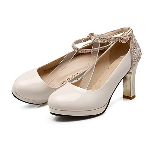 VogueZone009 Femme Rond à Talon Haut Boucle Couleur Unie Chaussures Légeres Beige