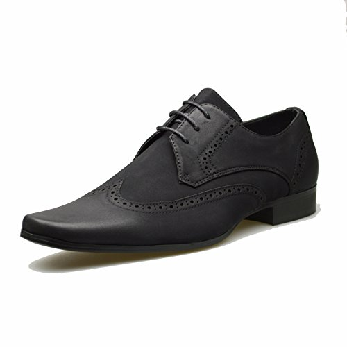 Mens Leather Suede Shoes Black Smart Lace Up Formal Dress Size UK...